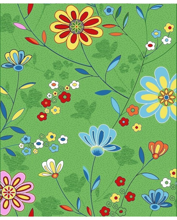 Mocheta Print Floricele Verde