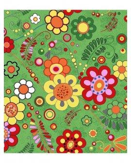 Covor copii Floral Verde